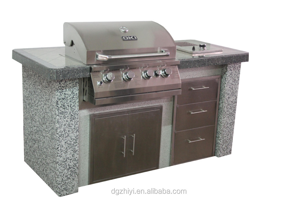 Luxury 4 1 burner bbq island outdoor gas grill with oven for Luxury oven
