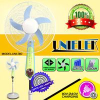 12 volt rechargeable battery operated standing fan AC/DC stand cooling fan with light