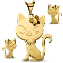 2015 new design Hot sale gold plated cat shaped pendant earrings stainless steel jewelry set