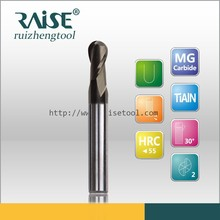 carbide 2 flute small ball nose end mill steel cutting tools/miniature ball nose end mill milling tools