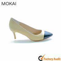 MK017-5-1 white and black ladies dress shoes with mid heel in china
