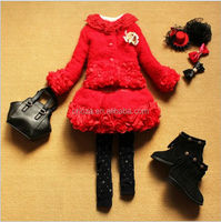 C54873S 2014 NEW FASHION BEAUTIFUL LACE GIRLS COAT AND DRESS SET