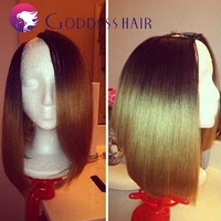hot fashion italian yaki ombre bob u part wig brazilian virgin hair 2 tone machine made wig hairstyle bob wigs for black women