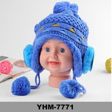 Blue color Lovely Newborn Baby Knitted Hat With Earflap Pattern Crochet Beanie Hat