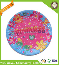 Printed paper plate, custom logo design disposable round shape plates