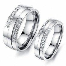 2015 Wholesale fashion 316L stainless steel jewelry rings wedding Ring /Set For Couple with Diamond