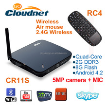 Cloudnetgo TV box in RK3188 Quad Core android 4.4 xbmc tv box/smart tv box support wifi DLNA enjoy chating movice on line