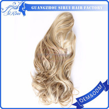 Best selling products synthetic hairpieces ponytail, half moon body clip in hair piece, handmade hair pieces