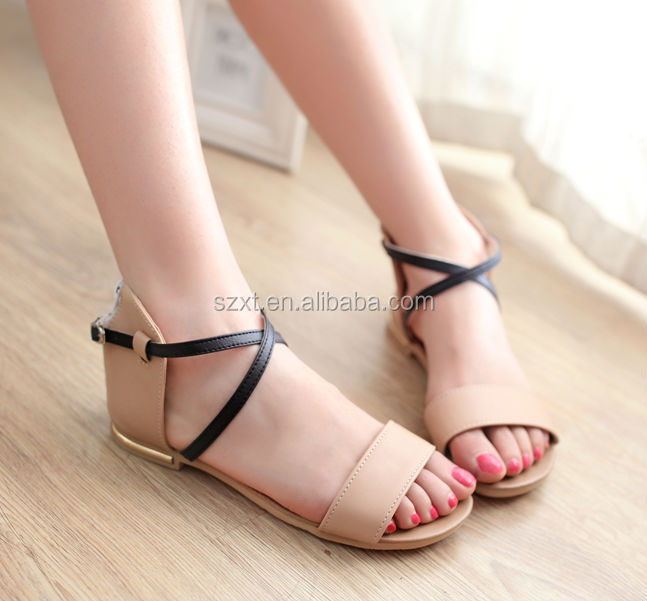 Elegant 2015 Flat Sandals For Women Ankle Strap Casual Summer Shoes Women