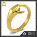 18k tendance populaire symbole de l'amour pour dolphin anneau en acier inoxydable