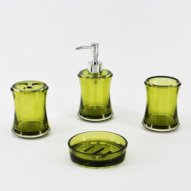 Classy Round Shape Olive Green Bathroom Accessory Set