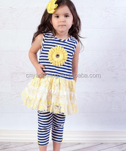 Adorable Girls Boutique Outfit Hot sales Newborn baby summer flower Clothing with stripes girls leggings outfits