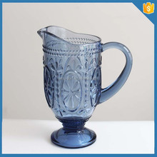 Hot sellong blue colored glass beer pitcher supplier