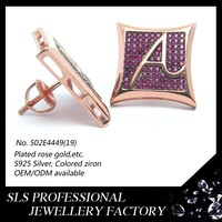 Sterling silver screwback stud earring for men rose gold plated inside with A shape letter hip hop earring fashion in 2015