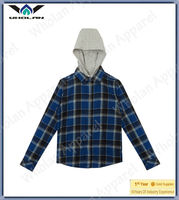 New model blue check teenager boys shirts with hoodie,mens shirts