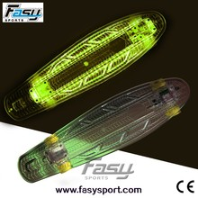 Fasy plastic light up skateboard for outdoor fun