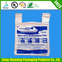 large weight bearing plastic t-shrit bags / carrier bags / vest bags for supermarket and grocery