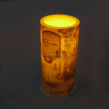 Flameless plastic pillar glitter nice angel healing waterproof led candle with timer