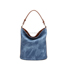2015 Simple Style PU Leather Blue Women Hobo Bucket Bag Handbag For Lady and Girl,Cheap Wholesale Price,made in Guangzhou China