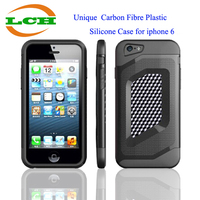 New arrival hot selling Unique Robot Carbon Fibre + PC + Silicone mobile phone cover case for iphone 6