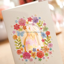 colorful flower embossed invitation card for romantic wedding decoration with laser cut cw5066