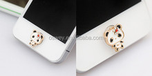 Lovely Alloy black eye panda 3.5mm earphone key return button stickers