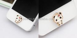 Lovely Alloy black eye panda 3.5mm earphone key return button stickers