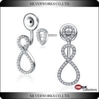 Factory wholesale 925 Sterling Silver earring infinity Love Design Ear Stud Earrings
