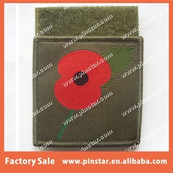 POPPY REMEMBERANCE GREEN COLOUR ADHESIVE VELCRO MILITARY PATCH CUSTOM