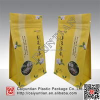 Flat Bottom Pouch For Powder Mixture Packaging, square bottom package bag for loose tea , eight side seal gusset bag for coffee