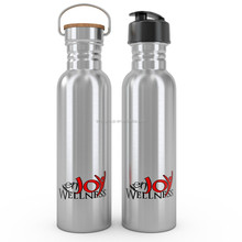 750ml stainless steel water bottle with bamboo lid