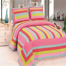 Fancy and popular cotton grid bed sheet set