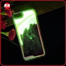 Newest Hard Plastic Glow In The Dark Transparent Flowing Quicksand Powder Liquid Case For Iphone 5 6