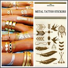 metallic foil temporary tattoo skin jewelry tattoo newest fashionable gold and silver tattoo stick
