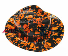 2015 fashion PVC plastic fancy printed gangster hats for hallowmas party decoration for adults
