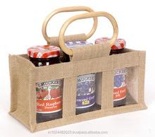 Three Bottle Packaging Jute Bags
