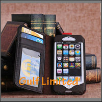 Vintage Old Book Style Leather Wallet Case For iphone 5s