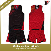 Reversible fast dry logo printed two sides basketball jersey