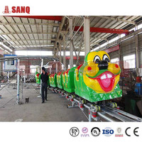 SANQGROUP Factory Price Cheap Used Carnival Kiddie Toy Game Eletric Slide Worm Amusement Rides Worm Train For Sale