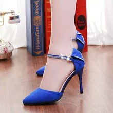 2015 summer Europe and America costly diamond pointed high-heeled sandals