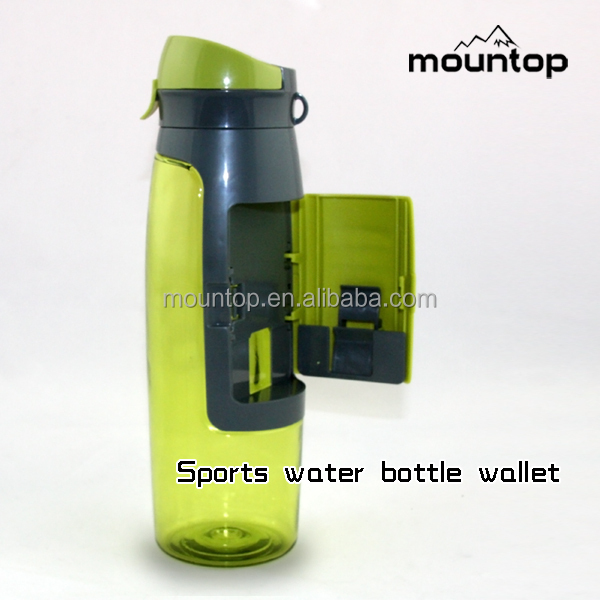 Sports Bottle With Storage Compartment: Bpa Free Plastic Storage Sports Bottle Food Grade Contigo