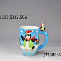 Decorated christmas ceramic mug,Christmas decoration design service gift wrap mug,snowman gift christmas ceramic coffee mug