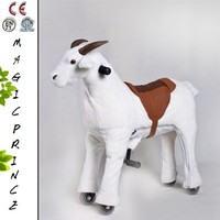 Best selling 2015 kids plush toy mechnical walking ride on horse on wheels with saddle