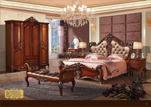 American style wooden venner adult bedroom sets matt finish red color