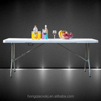 Camping products China 6ft plastic folding suitcase 8 seater dinning table with lock(blow mold, picnic, camping, steel legs)