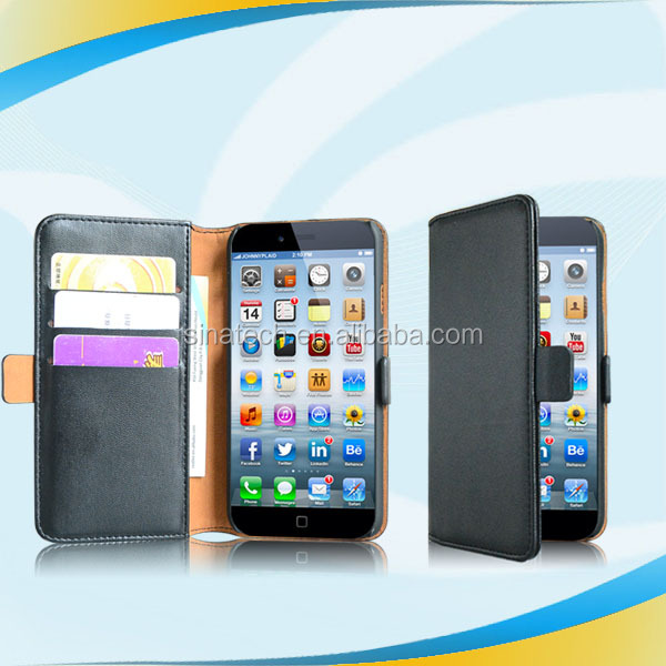 Premium leather product Slim three cards pockets wallet case for iphone 6,for iphone 6 case