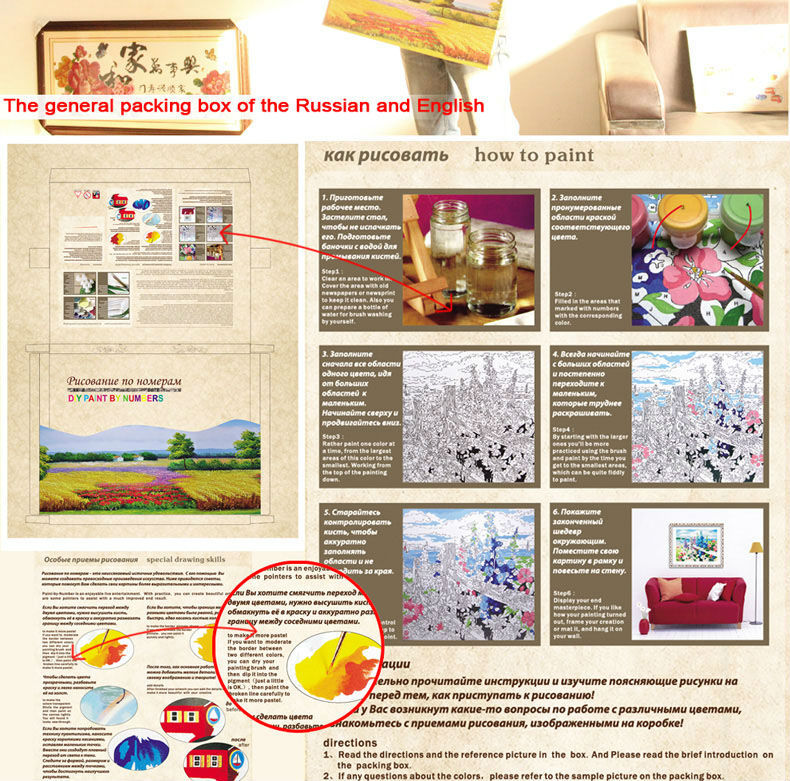 DIY digital acrylic oil canvas painting by numbers with gift box packing GX6016
