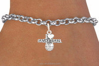 Zinc Alloy Silver Vintage Engraved Letter I Love Basketball Message Jewelry Bracelet for Man (OSH102096)