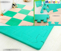 Eva foam Combination green & beige colourful non slip eco-friendly and safe kids floor mat large coverage