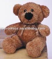 bear stuffed plush toy with a silk ribbon